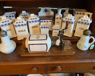 Wonderful old blue and white spice set, coffee grinder, and syrup pitchers