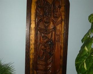 Very neat carved wood religious wall decoration