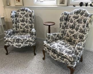 Two Vintage Toile Print Wing Back Chairs.  Queen Ann Legs.  Sold as a pair or individually.