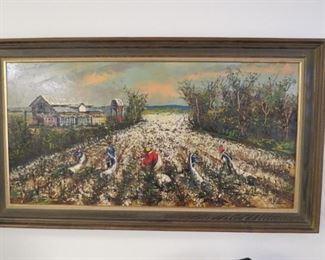 "Signed ""1963"" Morris Katz oil on board palette knife painting.  24""x 47"""