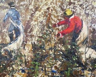 "Signed Morris Katz oil on board palette knife painting ""1963""."