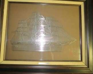 """The Clipper Ship """"Cutty Sark"""" sterling silver silhouette."""