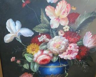 Large framed oil painting floral.