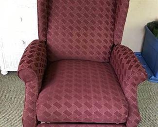 Burgundy Wingback Recliner Chair