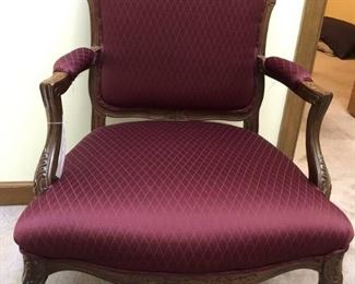 Burgundy Upholstered Carved Arm Chair