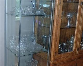 4 SIDED GLASS DISPLAY CASE MULTI SHELVES  AND A VERY LARGE SELECTION OF STEMWARE