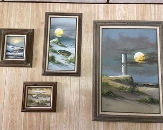 4 Seashore Oil Paintings