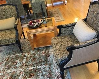 Pair of Custom-made Ebony Accent Chairs