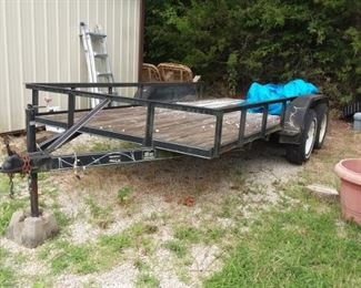 16' tandem flatbed trailer with ramps