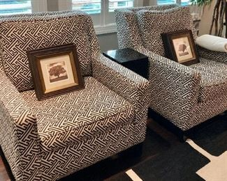 (2) CR Lane Club Chairs with Greek Key design upholstery