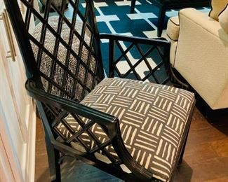 Designer Black Lacquered Chair, Florence Italy