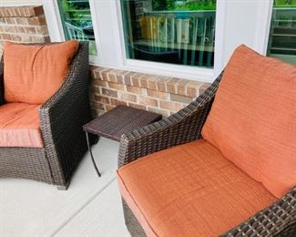 Pair, Patio Chairs and Table