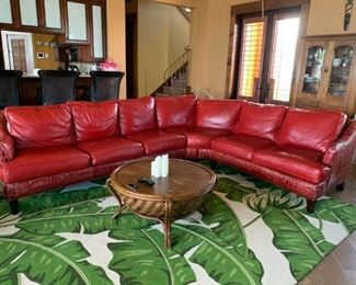 Gorgeous Red Reptile Print leather couch