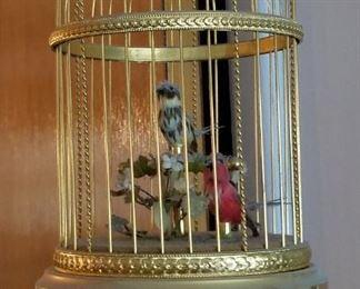 Automata Singing Birds in Cage Vintage