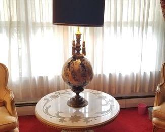 Hollywood Regency Lamp Reverse painted glass base