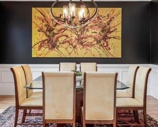 """Was $800 ....just reduced to $600! / Original Art from Gallery in Bali. Comes in three panels for total size of 58.5"""" H x106""""W . Panels screw together."""