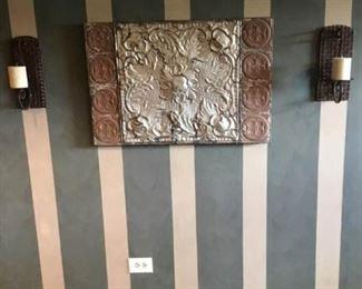 Antique Tin Panel Wall Hanging