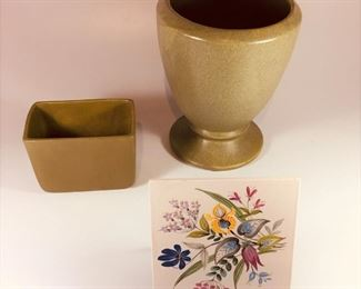 Matt green Haegar pots. (Appear more olive here than they are in person) Lg $38.00. Rectangle $14.00. Clarice C. Tile $16.00.
