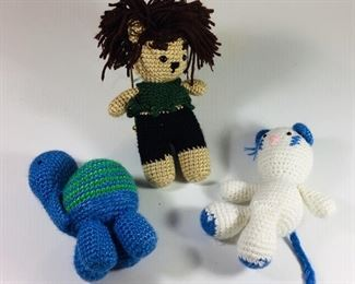 3 happy new hand crocheted animals... all $24.00 or $10 each.