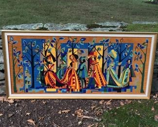 "Tudor framed finished Needlepoint, 47"" long. Flawless. $75.00"