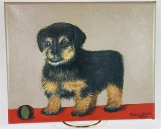 Darling oil painting of Norwich Terrier $150.00.  Signed!  Maureen Burke. Unframed on canvass.
