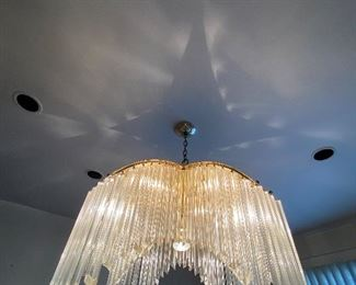 "VENINI STYLE CRYSTAL PRISM ""PALM TREE"" CHANDELIER WITH BRASS ACCENTS."