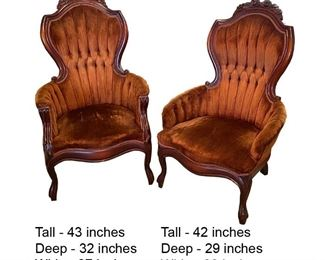 Pair Victorian Chairs 125.00 - Call Diane to Purchase 205 799-4166