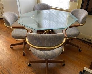 Table and Chairs - 100.00 - 42 in Octagon Glass top 125.00 - Call Diane to Purchase 205 - 799-4166