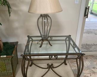 Pair of Glass Tables $150 and Lamps $75