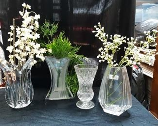 4 glass vases, 2 made by Mikasa