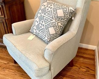 """$150 - Modern Wingback Chair - Green and Cream Colored - Measures 32"""" x 30"""" x 41"""".  The pillow is SOLD!"""