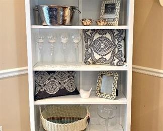 """$120 - White Shelving Unit - Measures 35"""" x 13"""" x 72"""".  The gray and white pillow and the frame underneath it are SOLD!"""