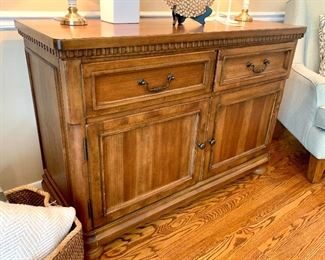 """$250 - """"I can be used for anything!"""" - Large cabinet with drawers and shelves -  Measures 50"""" x 20"""" x 35"""".  The plate on the stand is SOLD!"""