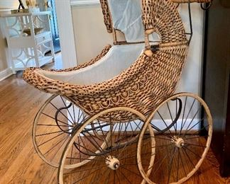 """$80 - Adorable Vintage Baby Carriage - Measures 36"""" x 15.5"""" x 38""""."""