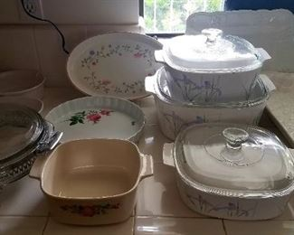 Corningware, silver plate serving dishes, platters and decor.