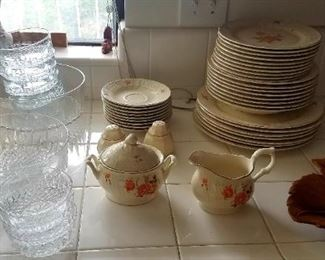 Dishware, Crystal Salad bowls and matching serving bowls.