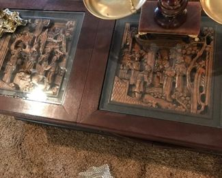 Hand carved wood coffee table with 2 side matching tables