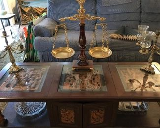 All marble justice scale with brass fittings, 4 arm brass candelabra
