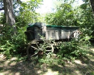 HORSE DRAWN WOODEN WAGON W/WOODEN SPOKE WHEELS