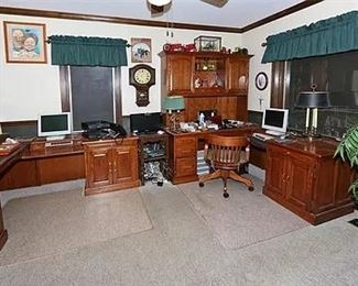 2 WOOD DESK W/SHELVING AND CABINETS