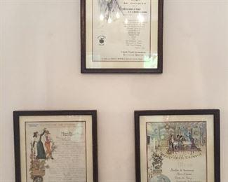 Framed French restaurant menus