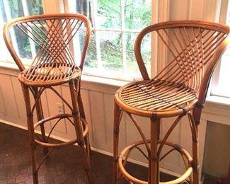 Set of four 1959  rattan stools