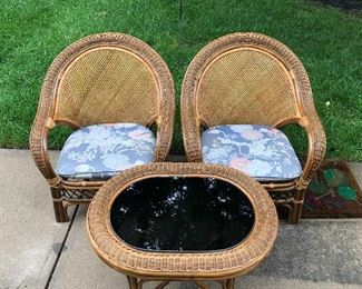 #5) $600 - 6 Piece wicker Furniture Set.  Sofa, Chase Lounge, 2 Side Chairs, Coffee Table, End Table.   Wicker is in good condition.  Solid and Sturdy.  Chair cushions. Both Tables have dark thick glass inserts.