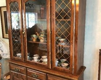 Small china cabinet if you are downsizing or have little space. This dining room set fits the bill