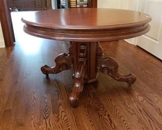 """ANTIQUE ROUND ORNATE PEDESTAL TABLE - 47""""W X 29""""H - BUY IT NOW $900"""