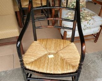 """FAUX BAMBOO WITH RUSH SEATS ARM CHAIRS - 19""""W X 19""""D X 44""""H - BUY IT NOW $185 EACH"""