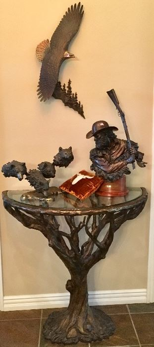 Bronze Eagle, Cowboy with rifle, and fine Bronze tree table.