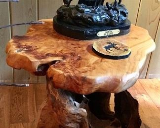 Stump Wood table with Moose Bronze. Sold separately.