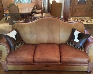 Stunning Quality Bob Timberlake Leather Sofa. 2 Beautiful Quality Leather Pillows with Leather tassels.