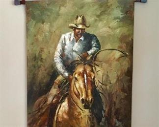 Cowboy Western Motif wall art with Texas Star Metal frame.